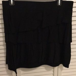 Black Cotton LOFT Tiered Skirt Size Small